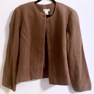 Brown Boiled Wool Cardigan Jacket from Orvis